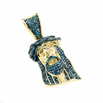 Mini Diamond Jesus Head Pendant Solid 10K Gold 1/2 carat Blue Diamonds