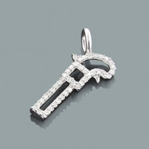 Mini Diamond Pendants: 10K Gold Gun Pendant 0.15ct