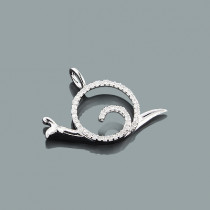 Mini Diamond Pendants: 10K Gold Snail Pendant 0.17ct