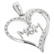 Mom Jewelry: Gold Diamond Heart Pendant 0.12ct 10K Gold