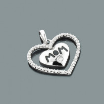 Mom Jewelry: Gold Diamond Heart Pendant 10K Gold 0.12ct