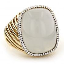 Moonstone Jewelry 14K Diamond White Moonstone Ring 17.2