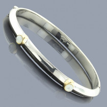 Mother Of Pearl 18K Sterling Silver Bangle Bracelet
