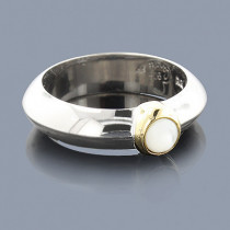 Mother Of Pearl Ring in Sterling Silver 18K
