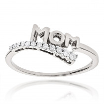 Ultra Thin Mothers Day Gifts Journey Diamond MOM Ring .13ct