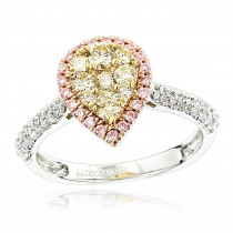 Natural White Pink Yellow Diamond Engagement Ring Pear Shape 0.9ct 14K Gold