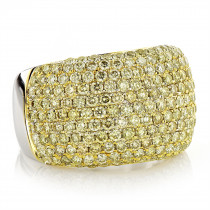 Natural Yellow Diamond Ring for Women 3.35ct 14K Gold Pave Wedding Band