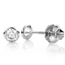One Carat 14K Gold Solitaire Round Diamond Bezel Stud Earrings