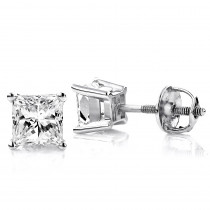One Carat Platinum Solitaire Princess Cut Diamond Stud Earrings