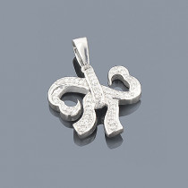Small Heart Bow Diamond Pendant 0.17ct Sterling Silver