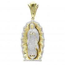 Our Lady of Guadalupe Real 10k Gold Blessed Virgin Mary Diamond Pendant