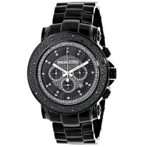 Oversized Luxurman Mens Black Diamond Watch 0.25ct