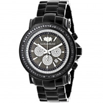 Oversized Mens Black Diamond Watch by Luxurman 3ct Chronograph Escalade