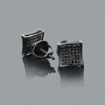 Pave Black Diamond Earrings 0.35ct Sterling Silver Black PVD