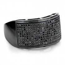 Mens Pave Black Diamond Ring 10K Gold Band 0.68ct