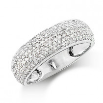 Pave Diamond Bands 14K Gold Round Diamond Band 0.90ct
