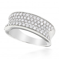 Pave Diamond Bands 14K Gold Round Diamond Band 1.20ct