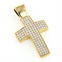 Pave Diamond Cross Pendant 14K Gold