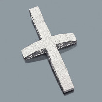 Pave Diamond Cross Pendant 3.96ct Silver