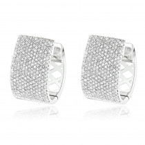 Pave Diamond Earrings for Women 14K Gold 1 Carat Small Wide Hoops