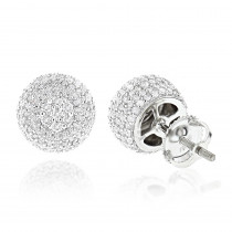 Pave Diamond Earrings 14K Gold Studs 1.32ct