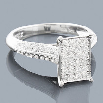 Pave Diamond Engagement Ring 14K 0.85ct