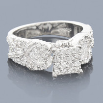 Pave Diamond Engagement Ring 14K 1.30ct