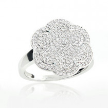 Pave Diamond Flower Ring 0.58ct 14K Gold