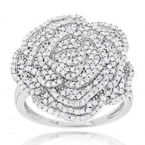Pave Diamond Flower Ring 0.92ct 14K Gold