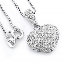 Pave Diamond Heart Pendant 0.48ct Sterling Silver