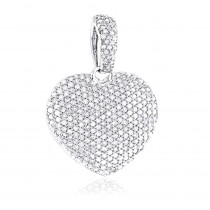 1 Carat Pave Diamond Heart Pendant 14K Gold