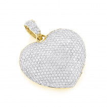 Pave Diamond Heart Pendant 14K Gold 2 carats