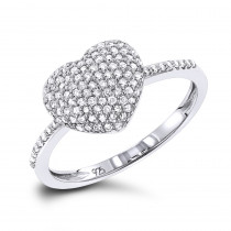 Ladies Pave Diamond Heart Ring in Sterling Silver 0.33ct