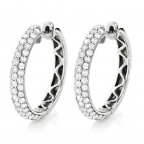 Large Pave Diamond Hoop Earrings 1 inch 14K Gold 2.5ct