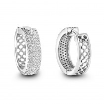 Pave Diamond Hoop Earrings 1.20ct 14K Gold