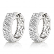 Pave Diamond Hoop Earrings 1.2ct 14K Gold