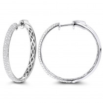 Pave Diamond Hoop Earrings 14K 2.25ct