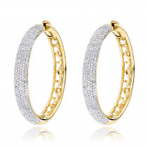 Pave Diamond Hoop Earrings 1.52ct 14K Gold