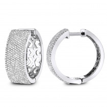 Pave Diamond Hoop Earrings 1.75ct 14K Gold