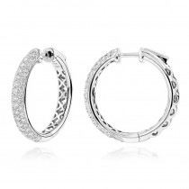 Pave Diamond Hoop Earrings 2.45ct