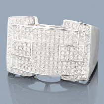 Pave Diamond Mens Ring 10K 0.97ct