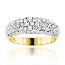 Pave Diamond Rings: 14K Gold Ladies Round Diamond Wedding Band 1.52ct