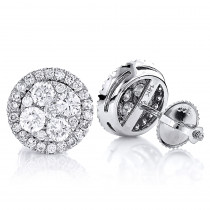 Pave Diamond Stud Cluster Earrings 1.46ct 14K Gold