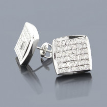 Pave Diamond Stud Earrings 0.45ct 14K Gold