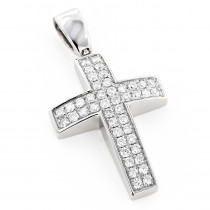 Pave Gold Diamond Cross Pendant 0.5ct 14K Gold