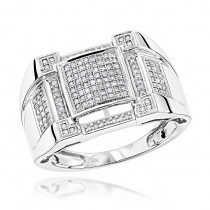 Pave Mens Diamond Ring 0.5ct 10K Gold