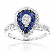 Pear Shape Design Sapphire and Diamond Engagement Ring for Women 1 Carat TW