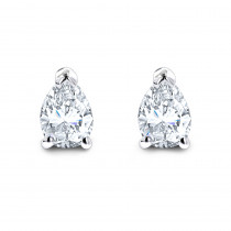 Pear Shape Diamond Stud Earrings 3/4 Carat 14k Gold 3 Prong Setting