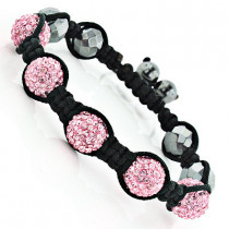 Pink Disco Ball Bracelet with Crystals