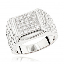 Pinky Rings: Square Mens Diamond Jubilee Ring by Luxurman 0.55ct 14K Gold